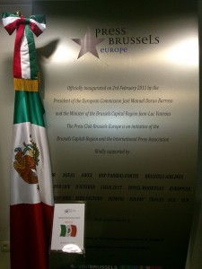 Exhibition of the Mexican Flag at the Press Club Brussels Europe on Tuesday 16 September 2014