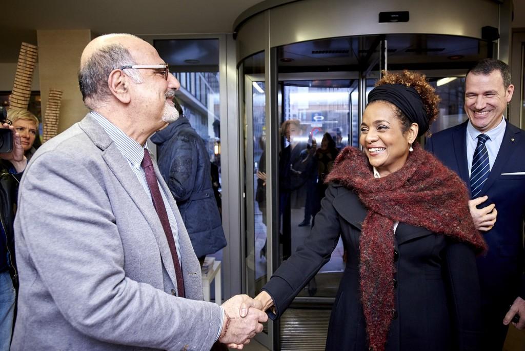 Belgium, Brussels - Feb 10/11, 2016 - Deplacement de son excellente Madame Michaelle Jean, SecrŽtaire GŽnŽrale de la Francophonie - Symposium OIF/ACP/FAO-ComSec-CPLP On the picture: Visite Club de la presse /Juncker Pict By Eric Herchaft / Reporters