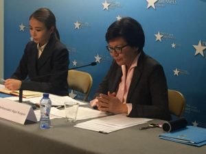 The Kazakh Ambassador to the EU, HE Aigul Kuspan briefed members of the Brussels Press Corps on the President's first 100 days of office.